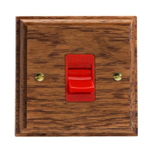 Varilight XK45SMOB Kilnwood Medium Oak 45A DP Cooker Switch Single Plate